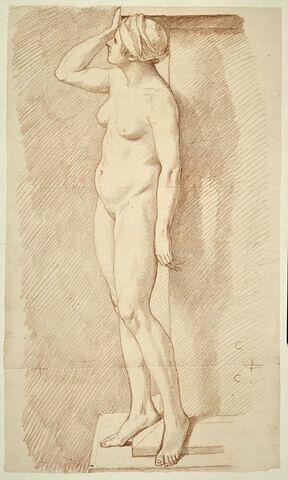 Femme nue, debout, tournée à gauche le corps vu de trois quarts