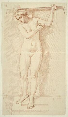 Femme nue, debout, vue de face, regardant à gauche et en bas