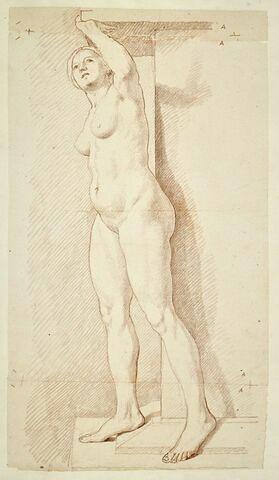 Femme nue, debout, tournée à gauche penchée en avant