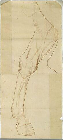 La patte gauche du cheval de la statue équestre de Louis XV