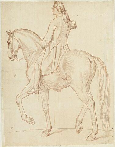 Cavalier et cheval, vus de profil vers la gauche, avec indication de mesure