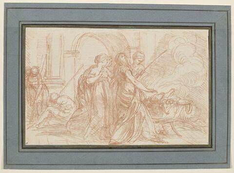 Médée égorgeant le bélier devant les filles de Pélias.