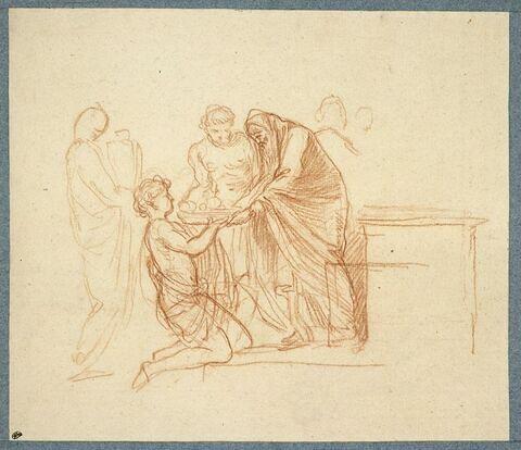 Scène de sacrifice antique avec un prêtre recevant une corbeille de fruits