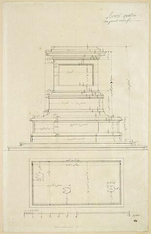 Elévation et plan de la base de la statue d'Henri IV