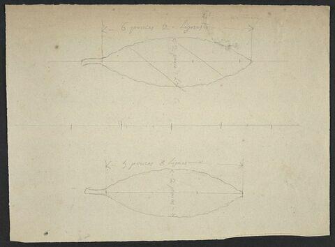 Deux études de feuilles d'olivier pour la statue équestre de Louis XV