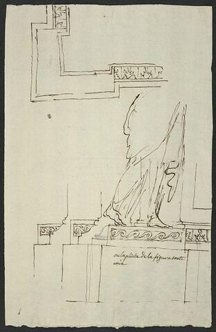 Etude de la plinthe du piédestal de la statue équestre de Louis XV