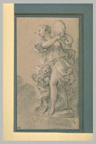 Une bacchante et un petit satyre jouant de la musique