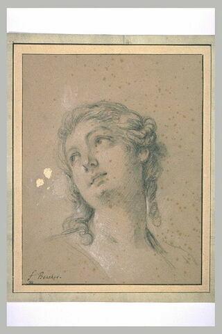 Etude d'une tête de jeune femme légèrement penchée : Ariane