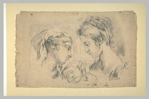 Etude de deux têtes de jeunes femmes et d'un enfant