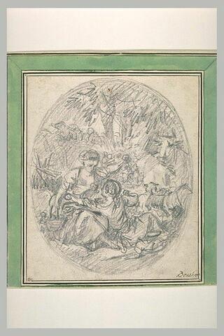 Berger assis à terre dans un bois aux pieds d'une bergère