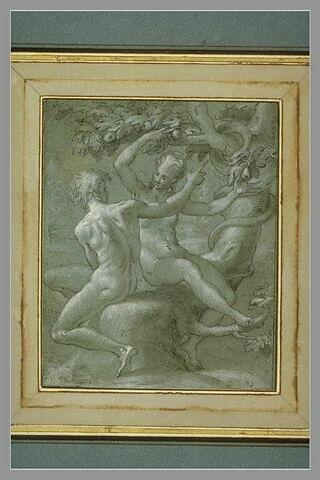 Adam et Eve assis au pied de l'arbre