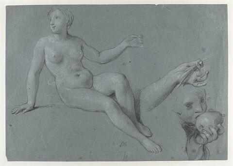 Femme nue, reprise de sa main gauche, et enfant mordant dans une pomme