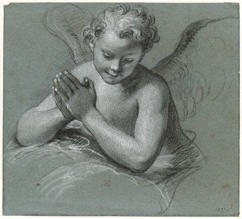 Etude d'ange appuyé sur un nuage, les mains jointes