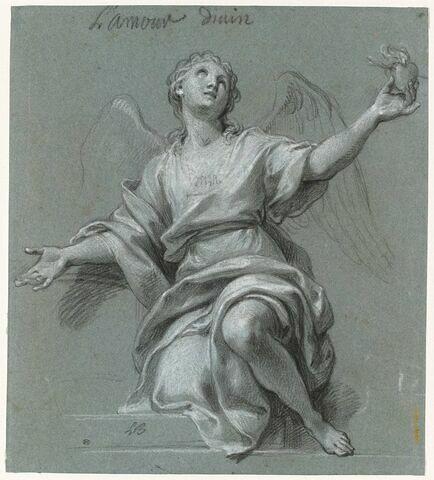 L'Amour divin, représenté par un ange tenant un coeur enflammé