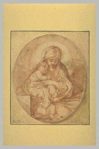 La Sainte Vierge tient de ses deux mains l'Enfant Jésus endormi