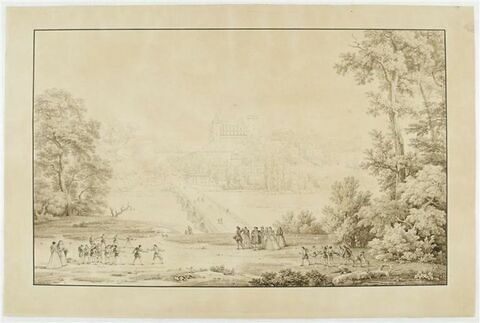 Vue du château de Pau, prise au delà du Gave