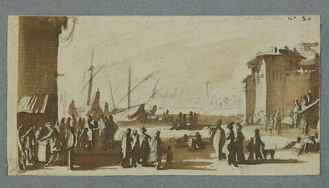 Marchands et foule sur les quais d'un port