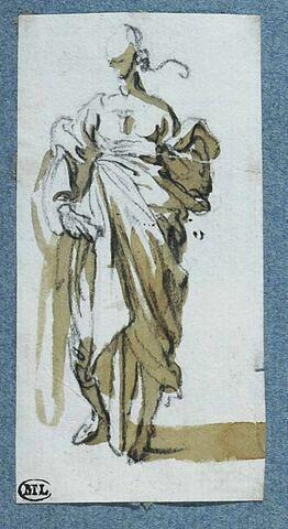 Une figure, debout, la main gauche sur la poitrine