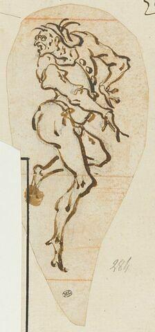 Une figure nue, grotesque se retournant à gauche : un cucurucù