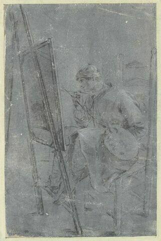 Un peintre assis et peignant un tableau placé sur un chevalet
