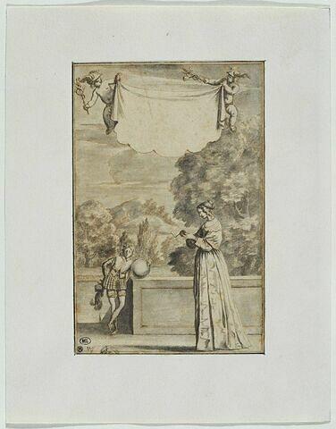 Femme dans un parc, lisant une lettre, et deux putti tenant un caducée