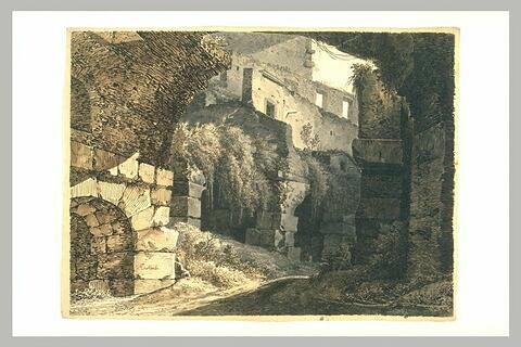 Vue d'une partie des ruines du Colisée à Rome