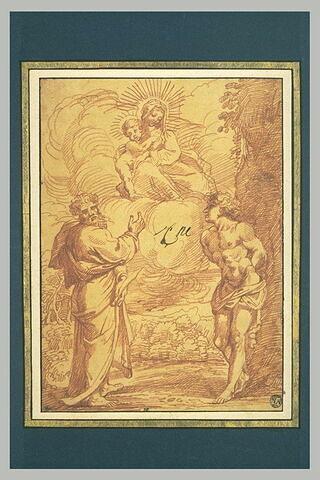 La Vierge et l'Enfant apparaissant à saint Sébastien et saint Barthélémy