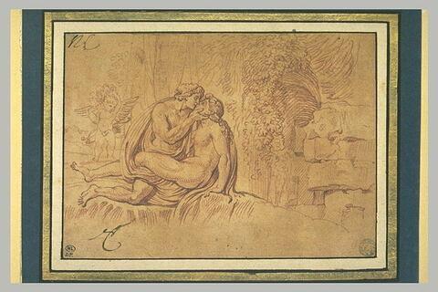 Vénus et Adonis (?) enlacés et l'Amour dans un paysage