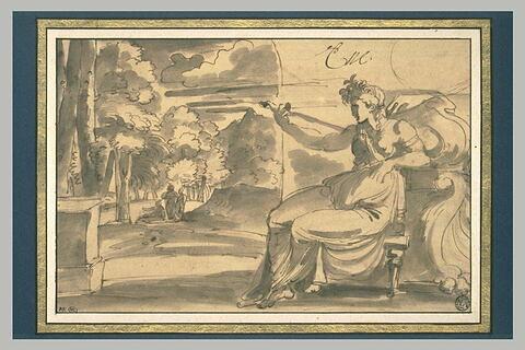 Figure de femme assise prête à se percer le sein  : Lucrèce (?)