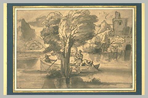 Paysage avec trois pêcheurs dans une barque
