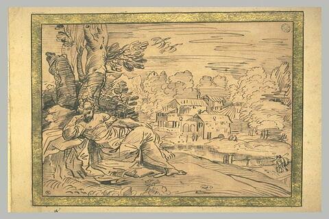 Femme allongée dans un paysage