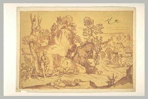 Joueur de cornemuse dans un paysage