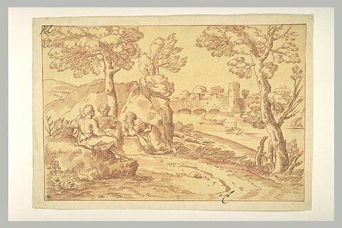 Paysage avec trois figures