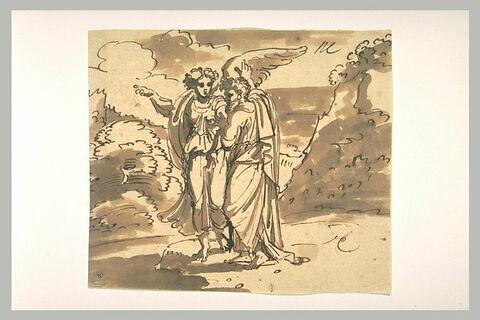 L'ange et Abraham debout