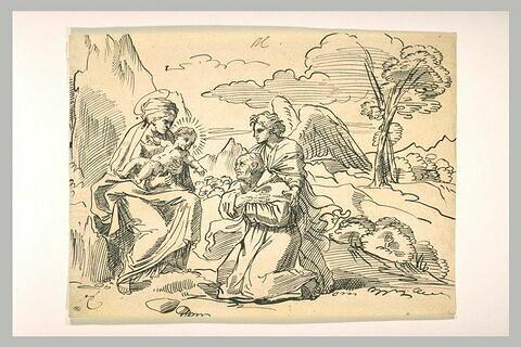 La Vierge et l'Enfant Jésus apparaissant à un saint
