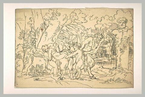Génies hissant un enfant sur une chèvre, conduits par un faune