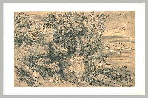 Berger guidant son troupeau, dans un paysage boisé
