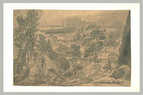 Vénus et Adonis, dans un paysage, avec l'Amour