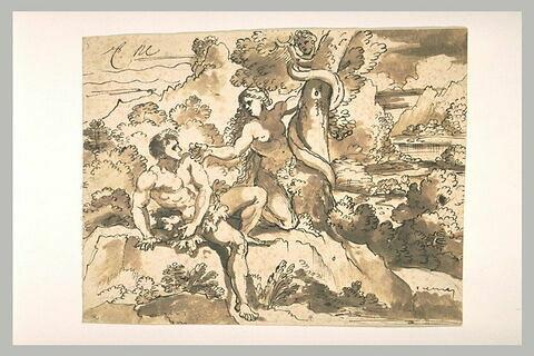 Eve présentant le fruit défendu à Adam
