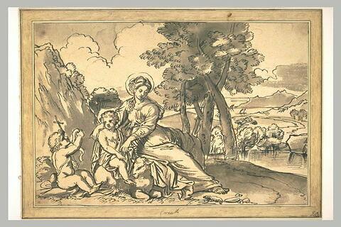 Repos de la Vierge à l'Enfant avec le petit saint Jean