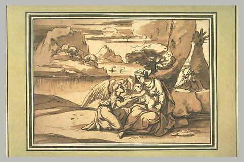 La Sainte Famille dans le désert servie par les anges