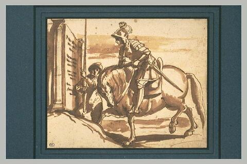 Un guerrier à cheval lisant une inscription, avec son écuyer