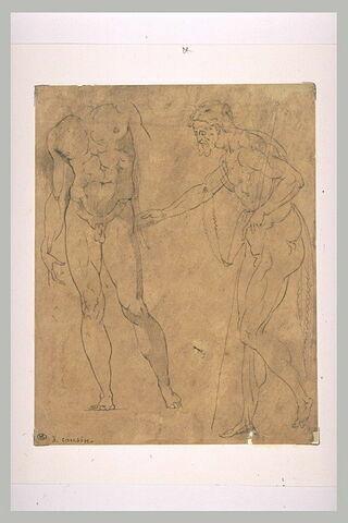 Homme nu, de face, et homme couvert d'une peau de bête (saint Jean-Baptiste)