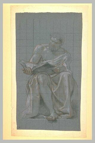 Un prophète assis, un livre ouvert sur les genoux