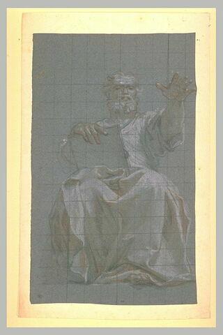 Un prophète assis, une tablette dans la main droite