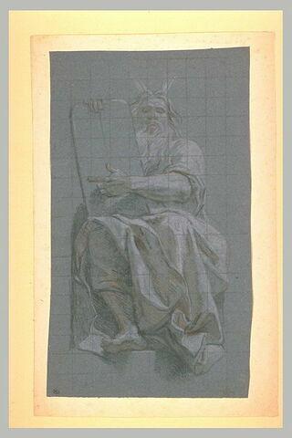 Un prophète assis, vu de face, tenant une tablette
