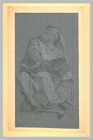 Un prophète, assis, tenant un objet dans les mains