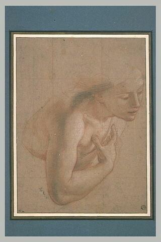 Une demi-figure de femme nue, tournée à droite, une main sur la poitrine : étude pour l'ange de l'Annonciation