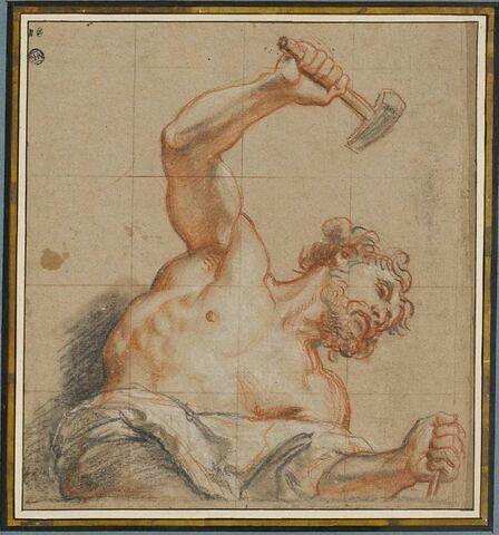 Homme, en buste, frappant d'un marteau un ciselet : Cyclope