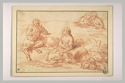 Pan jouant de la flûte devant trois nymphes